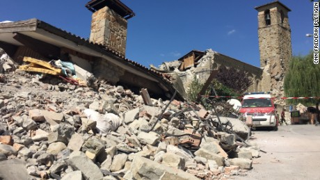A church partially destroyed in the earthquake in Amatrice.
