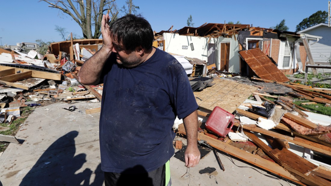 "Mark Martinez wipes his face after his home in Kokomo, Indiana, <a href=""http://www.cnn.com/2016/08/24/us/indiana-tornadoes/"" target=""_blank"">was hit by a tornado</a> on Wednesday, August 24."