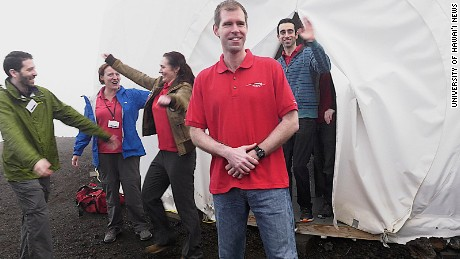 A team of six people emerge from a year-long Mars simulation in Hawaii.