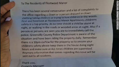 If you see a clown, or anybody else suspicious, call police, says the letter from Fleetwood Manor.