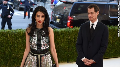 Anthony Weiner and Huma Abedin arrives at the Costume Institute Benefit at The Metropolitan Museum of Art May 2, 2016 in New York.
