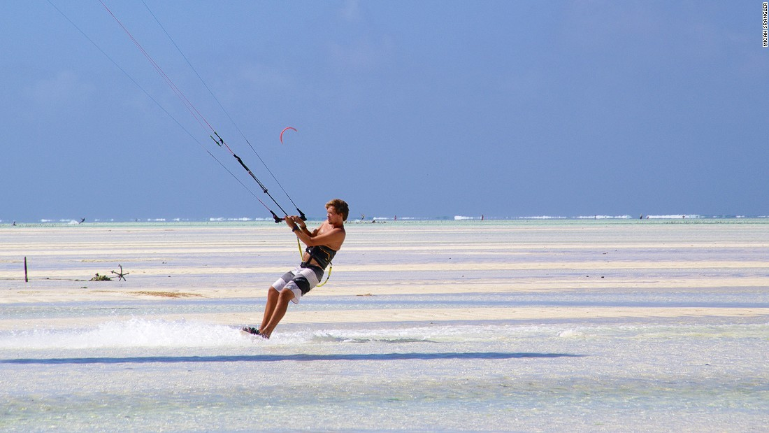 Shallow waters and steady winds make Paje, on Zanzibar's southeast coast, one of the best kite-surfing spots in the world.