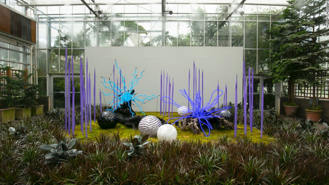 """Sapphire Neon with Neodymium Reeds, Floats and Logs"" has an otherworldly look."