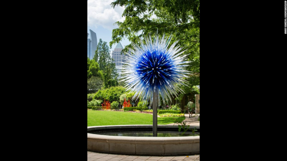 """Sapphire Star,"" which is situated in Howell Fountain, welcomes visitors to the Great Lawn outside Fuqua Conservatory."