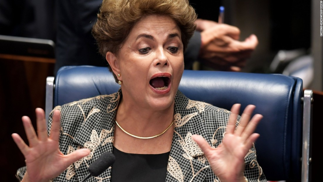Rousseff gestures during her testimony during her impeachment trial at the National Congress in Brasilia on
