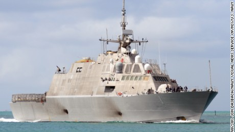 100731-N-6854D-100PEARL HARBOR (July 31, 2010) The littoral combat ship USS Freedom (LCS 1) returns to Joint Base Pearl Harbor-Hickam after participating in Rim of the Pacific (RIMPAC) 2010 exercises. RIMPAC is a biennial, multinational exercise designed to strengthen regional partnerships and improve multinational interoperability. (U.S. Navy photo by Mass Communication Specialist 2nd Class Jon Dasbach/Released)