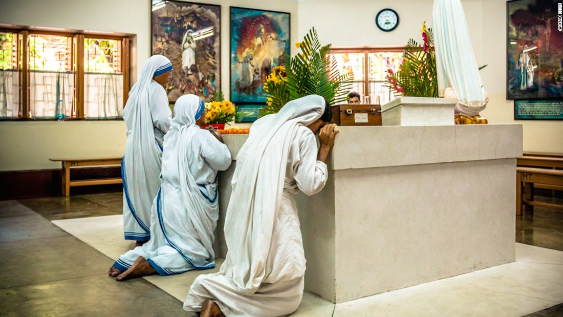 "Gautam Lewis is a pilot, photographer and polio survivor. He spent his early years under the care of Mother Teresa. He photographed these sisters praying on the tomb of Mother Teresa in May 2016. ""It was very emotional being there,"" he says."