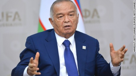 UFA, RUSSIA - JULY 10: In this handout image supplied by Host Photo Agency/RIA Novosti, President of Uzbekistan Islam Karimov at a bilateral meeting with President of the Russian Federation Vladimir Putin in Ufa. during the BRICS/SCO Summits - Russia 2015 on July 10, 2015 in Ufa, Russia. (Photo by Host Photo Agency/Ria Novosti via Getty Images)