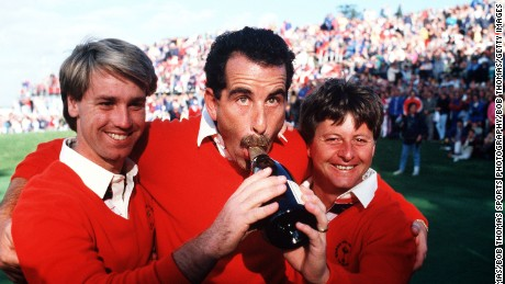 Sport, Golf, The Ryder Cup, The Belfry, England, 13th-15th September 1985, Great Britain and Europe 16 1/2 v USA 11 1/2, Great Britain and Europe's L-R: Paul Way, Sam Torrance, and Ian Woosnam celebrate with a bottle of champagne after their victory  (Photo by Bob Thomas/Getty Images)