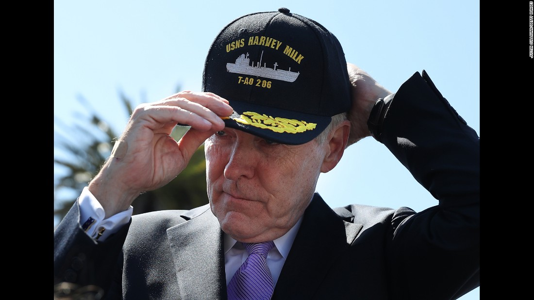 "Ray Mabus, the secretary of the U.S. Navy, puts on a hat Tuesday, August 16, for the new oiler ship <a href=""http://www.cnn.com/2016/07/29/politics/us-navy-intends-to-name-ship-after-harvey-milk/"" target=""_blank"">named after slain gay rights activist Harvey Milk.</a> Milk, the first openly gay politician from California to be elected to office, served in the Navy as a dive instructor."