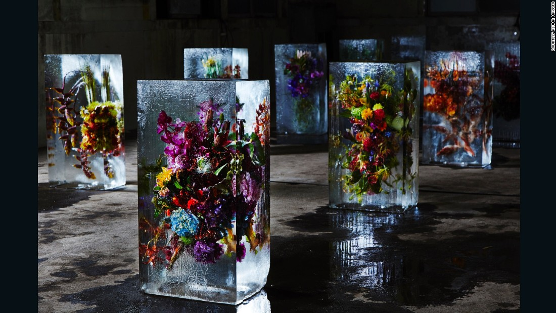 """I think my mission as flower artist is to create something new out of flowers by adding our artificial inputs, or to give flowers new life in totally new situation. I believe that's what my work is about and that's what I must do,"" says Azuma."