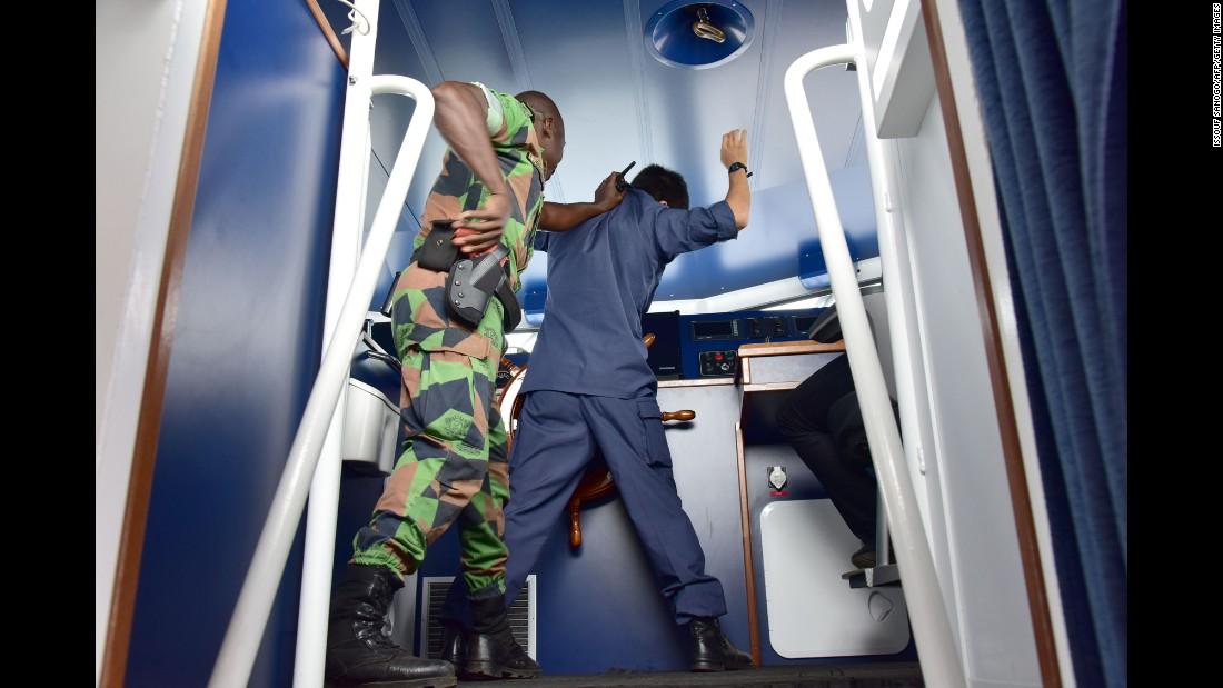 Members of the U.S. Coast Guard and the Ivorian Navy held an anti-piracy exercise in Abidjan, Ivory Coast, on Thursday, August 25.