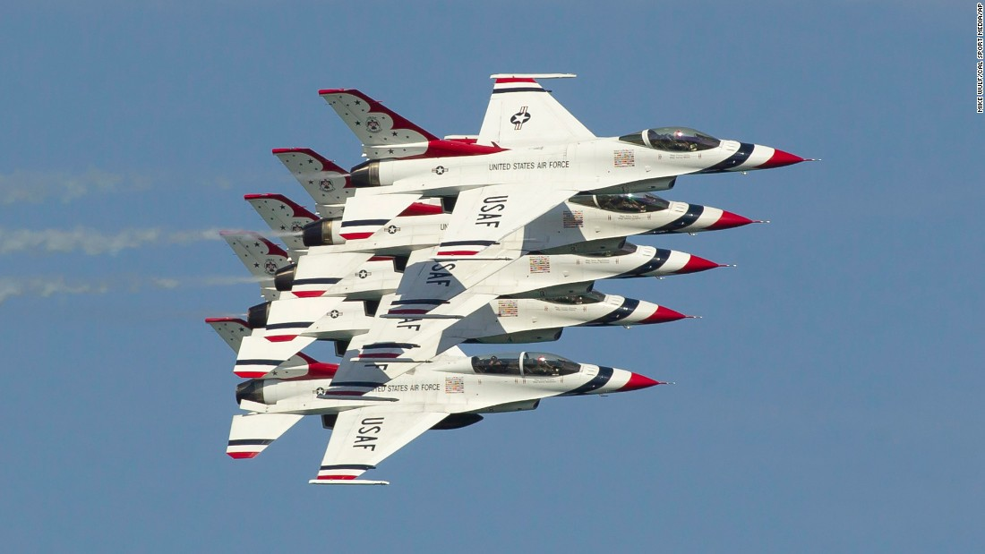 The U.S. Air Force Thunderbirds practice before an air show in Chicago on Friday, August 19.