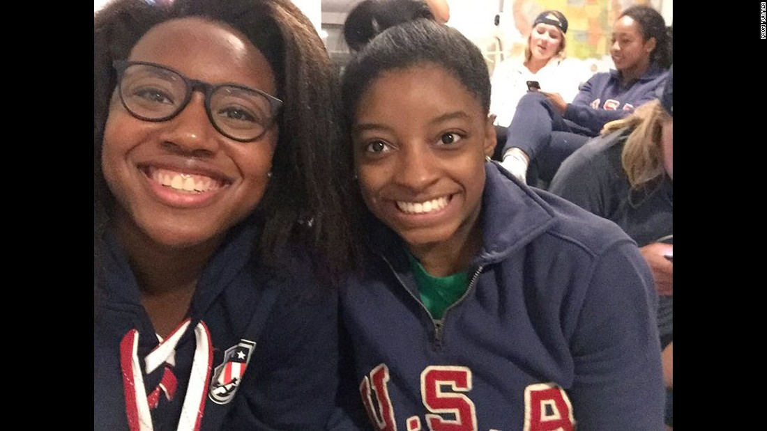 "U.S. Olympians Simone Manuel, left, and Simone Biles take a selfie together on Friday, August 12. ""Simone x2,"" <a href=""https://twitter.com/Simone_Biles/status/764153195048398849"" target=""_blank"">Biles tweeted,</a> along with a gold-medal emoji. A day earlier, Manuel won the 100-meter freestyle, <a href=""http://edition.cnn.com/2016/08/11/sport/rio-olympics-day-6-preview/"" target=""_blank"">becoming the first African-American woman to win an individual gold in an Olympic swimming event.</a> Biles dominated in gymnastics, winning gold in both the team and <a href=""http://edition.cnn.com/2016/08/11/sport/simone-biles-usa-gymnastics-rio/"" target=""_blank"">individual all-around.</a>"
