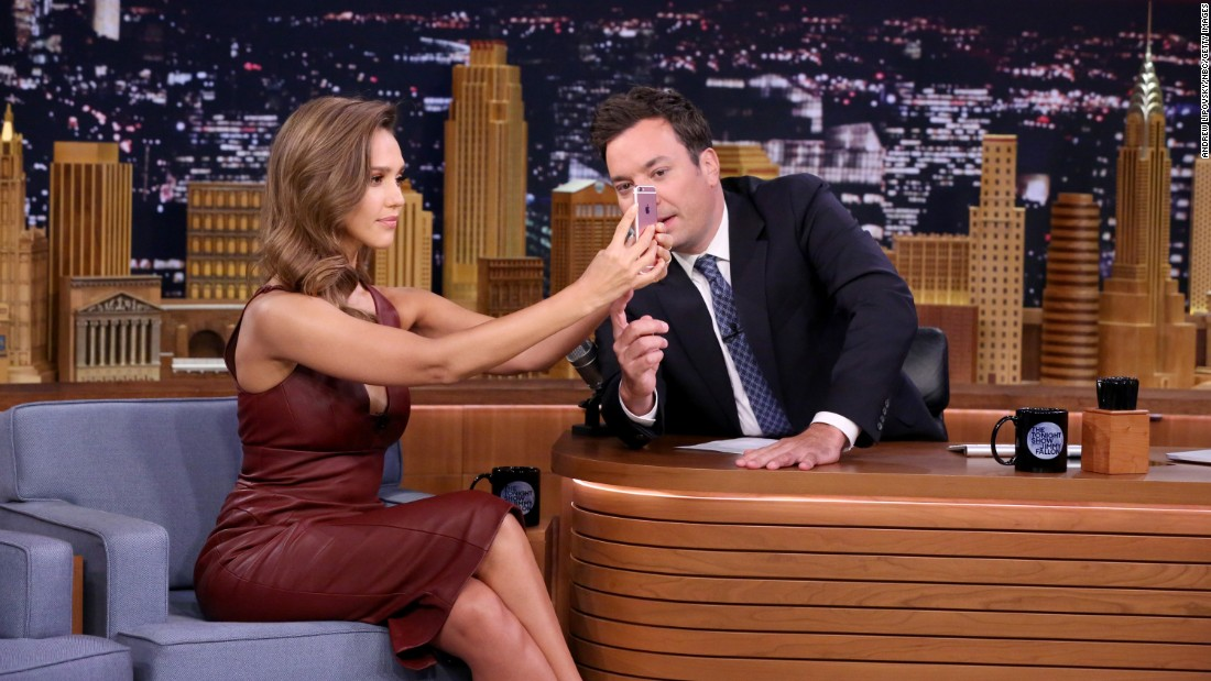 """Actress Jessica Alba takes a selfie on """"The Tonight Show"""" with Jimmy Fallon on Friday, August 26."""