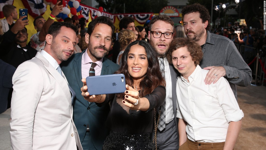 "The stars of the animated film ""Sausage Party"" take a selfie together at the premiere in Westwood, California, on Tuesday, August 9. From left are Nick Kroll, Paul Rudd, Salma Hayek, Seth Rogen, Michael Cera and Danny McBride."