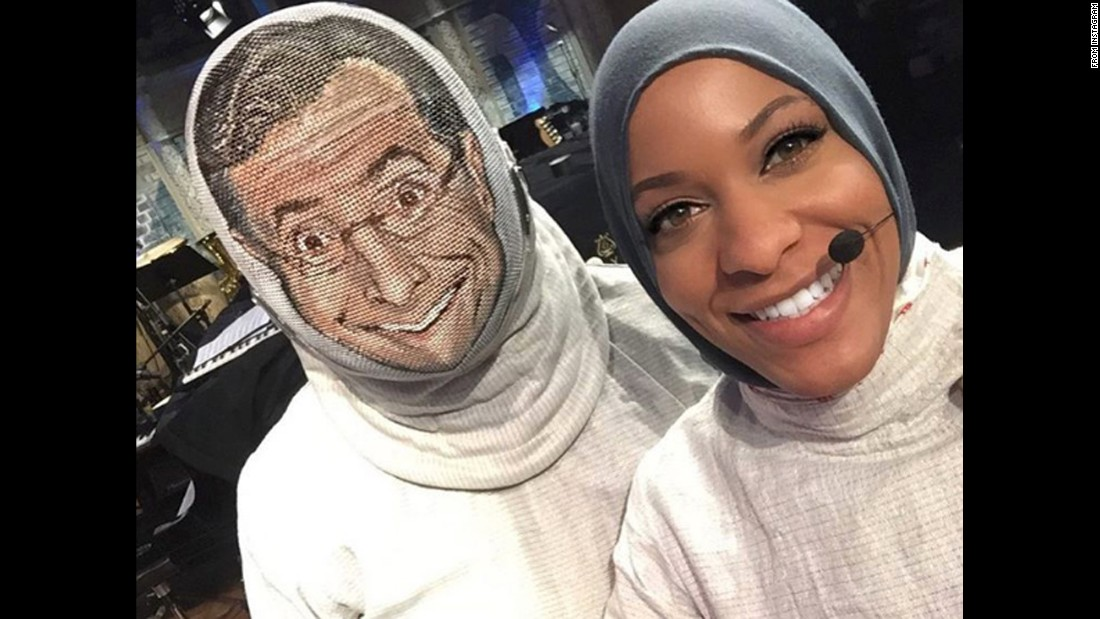 "Fencer Ibtihaj Muhammad -- <a href=""http://www.cnn.com/2016/08/03/sport/ibtihaj-muhammad-2016-rio-olympics-fencing/"" target=""_blank"">the first U.S. Olympian to compete in a hijab</a> -- appears with ""Late Show"" host Stephen Colbert in a segment that aired on Friday, August 5. ""I get a chance to show Stephen a bit of fencing,"" <a href=""https://www.instagram.com/p/BIu9Rkkhy6m/"" target=""_blank"">she said on Instagram.</a>"