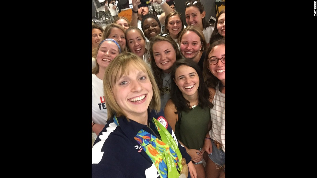"Olympic swimmer Katie Ledecky, who won four gold medals and one silver in Rio de Janeiro this month, takes a selfie Wednesday, August 17, as she visits her old prep school in Bethesda, Maryland. ""Back in the USA,"" <a href=""https://twitter.com/katieledecky/status/765987122683777024"" target=""_blank"">she tweeted</a> at the Stone Ridge School of the Sacred Heart. ""Thanks to my @GatorsSR friends for the welcome home!"""