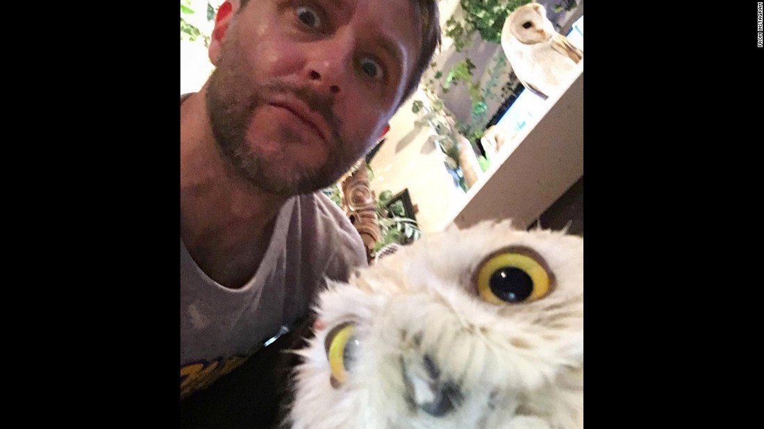 "Television host Chris Hardwick visits an <a href=""http://www.cnn.com/2015/12/09/travel/tokyo-akiba-fukuro-owl-cafe/"" target=""_blank"">owl cafe</a> in Japan on Tuesday, August 23. ""I'm just not sure how I ever lived before visiting an owl cafe, or as Harry Potter would call it, ""the post office,"" <a href=""https://www.instagram.com/p/BJc7FDBj7zg/"" target=""_blank"">Hardwick said on Instagram.</a>"