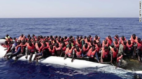 Thousands of migrants saved crossing the Mediterranean
