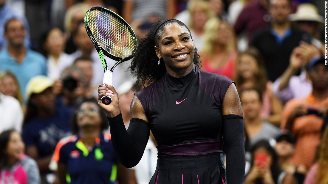 Serena Williams is all smiles after she beat Russia's Ekaterina Makarova 6-3 6-3 in their first round match. Williams is bidding for a record 23rd grand slam singles title.