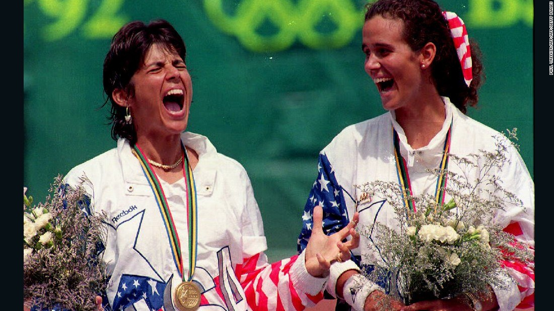 Puig is not the first Puerto Rican tennis player to win Olympic gold. Gigi Fernandez (left) was a two-time women's doubles champion representing  the United States at the 1992 and 1996 Games. She played for her native country at the 1984 Los Angeles Olympics, when tennis was a demonstration sport, before switching allegiances.