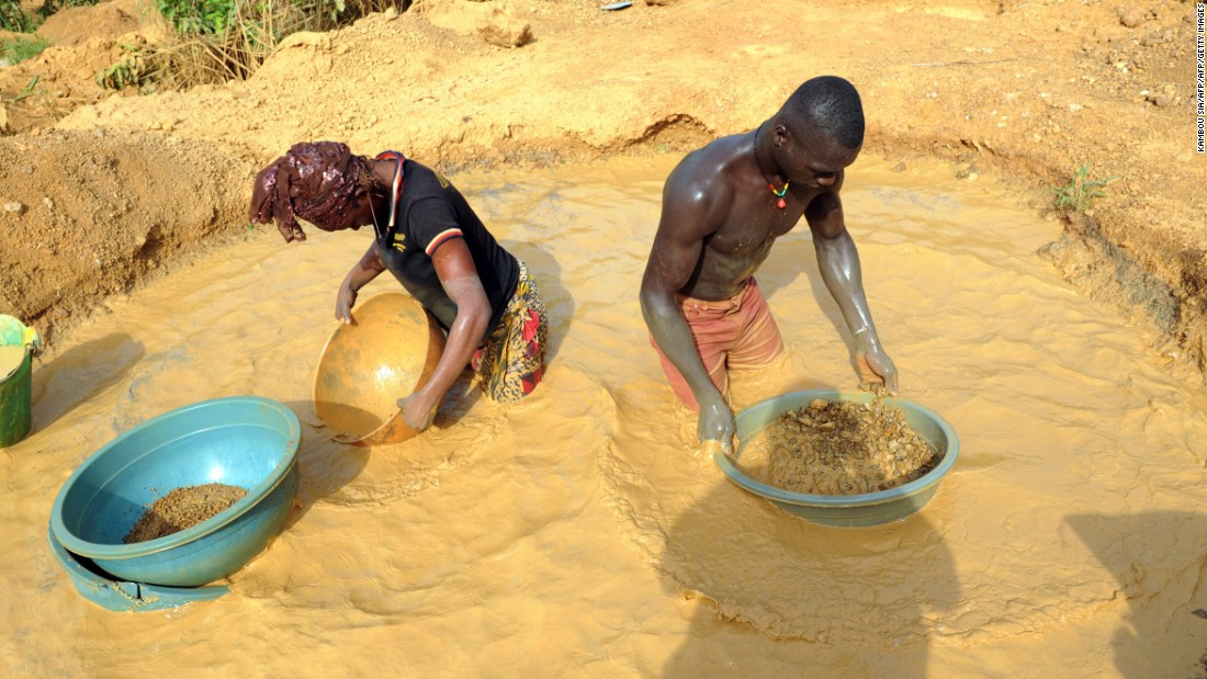 Residents of central Ivorian village Angovia wash gravel in search of gold.<br /><br />Thousands of laborers from the village have reportedly abandoned traditional agriculture for the greater potential rewards of the precious mineral.