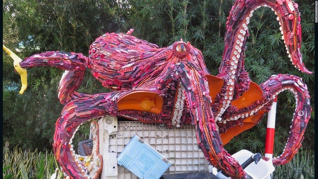 "About 300 million pounds of plastic are produced globally each year and less than 10 percent of that is recycled.<br /><br />""Most of our garbage comes from the middle of the ocean,"" says Haseltine Pozzi.""The octopus sculpture gave us a chance to show the large debris that comes in. Sometime we chop stuff up but this is just sitting on a pile of trash."""