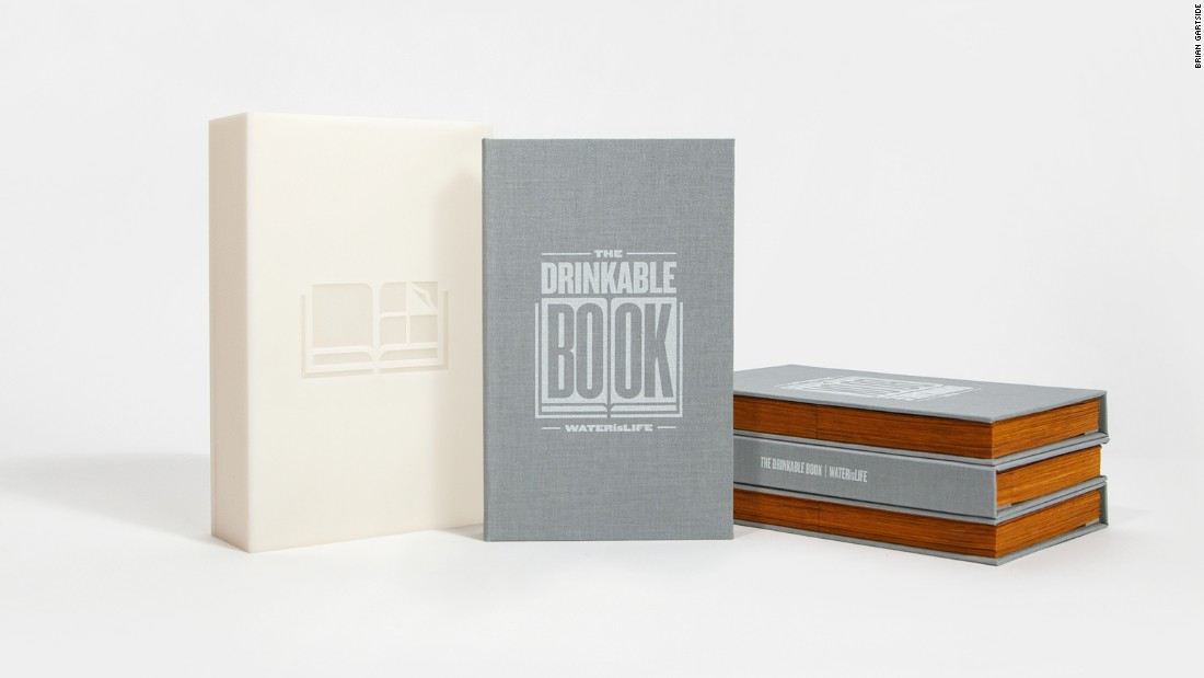 The text within the Drinkable Book provides lifesaving information about water issues, while its pages are made of germ-killing silver filter paper. One filter can purify 100 liters of water.