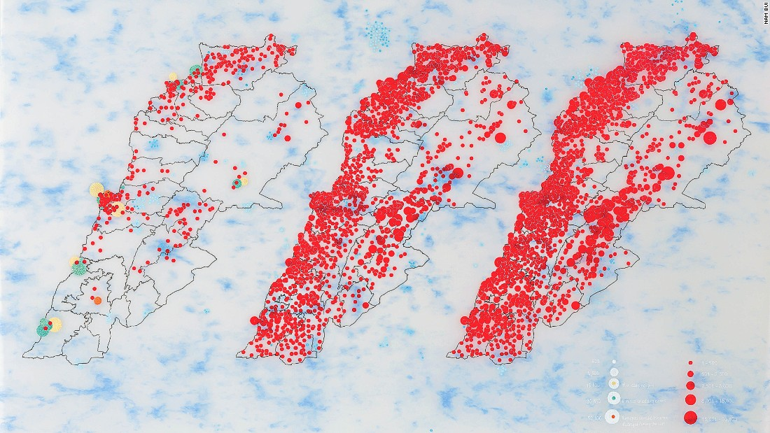 Tiffany Chung's work reflects wars and conflicts. Heavily based on research, she depicts humanitarian crises and natural disasters by obsessively painting dots and circles on paper.