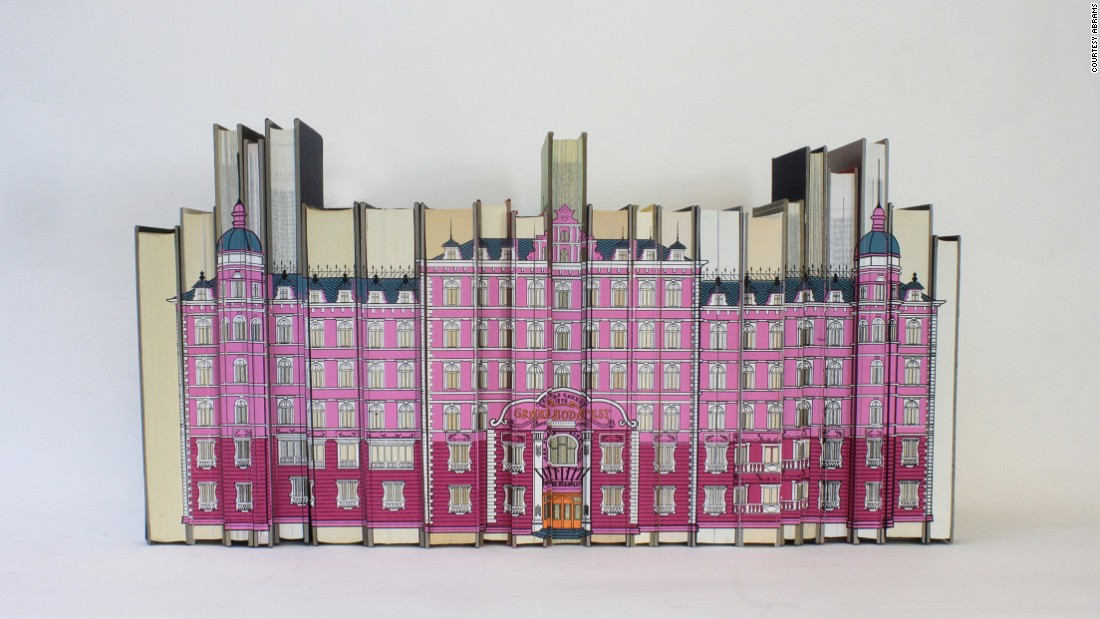 "Screen print on reclaimed books recreated the Grand Budapest Hotel, as seen in ""Grand Budapest Hotel."""