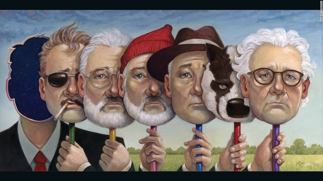 "Bill Murray's characters in (L-R) in ""Rushmore,"" ""The Royal Tenenbaums,"" ""The Life Aquatic with Steve Zissou,"" ""The Darjeeling Limited,"" ""Fantastic Mr Fox,"" and ""Moonrise Kingdom."""