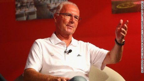Franz Beckenbauer talks to the guests at the Allianz Arena.