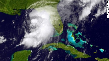In this NOAA handout image, taken by the GOES satellite at  UTC: 1650Z shows the tropical storm organizing in the Gulf of Mexico just west of Florida on September 1, 2016. Hurricane warnings have been issued for parts of Florida's Gulf Coast as Hermine is expected to make landfall as a Category 1 hurricane. (Photo by NOAA via Getty Images)