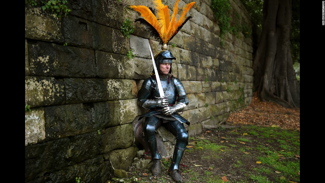 Rod Walker, a two-time world champion in medieval jousting, poses for a photo in Sydney on Friday, August 26. Walker is training for a tournament in late September.