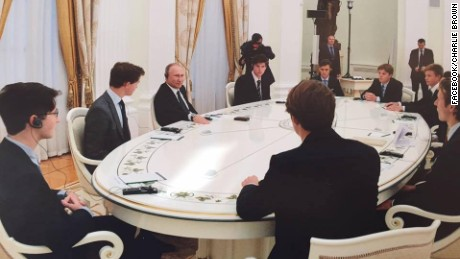 Eton students meet the Russian leader last week  at the Kremlin.