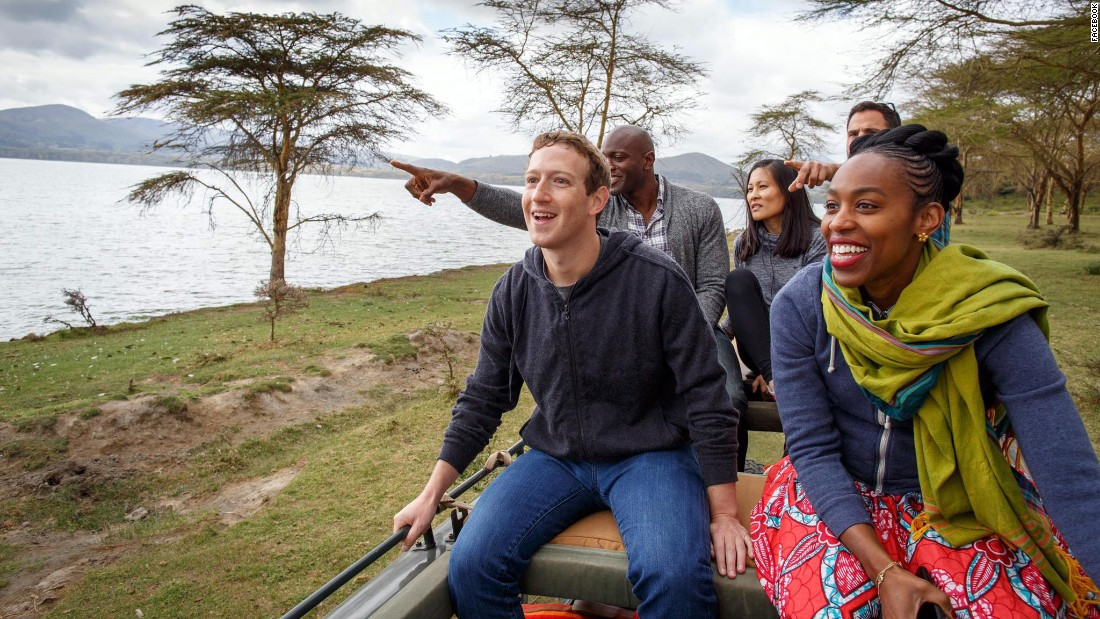 Mark Zuckerberg and members of his team at Facebook go on safari at Lake Naivasha in Kenya on September 1.
