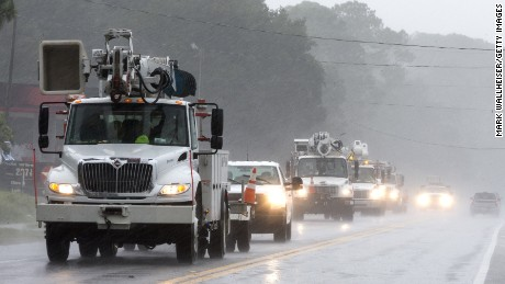 CARRABELLE, FL - SEPTEMBER 01:  Power crews with Pike Electric in South Carolina arrive on the Florida Gulf coast as Hurricane Hermine approaches on September 1, 2016 in Carrabelle Florida. Hurricane warnings have been issued for parts of Florida's Gulf Coast as Hermine is expected to make landfall as a Category 1 hurricane (Photo by Mark Wallheiser/Getty Images)