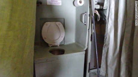 Semi-private facilities aboard an Air Force Hurricane Hunter plane.