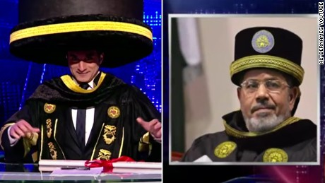 "Youssef mocks Morsy in March 2013 on an episode of ""Al-Bernameg."""