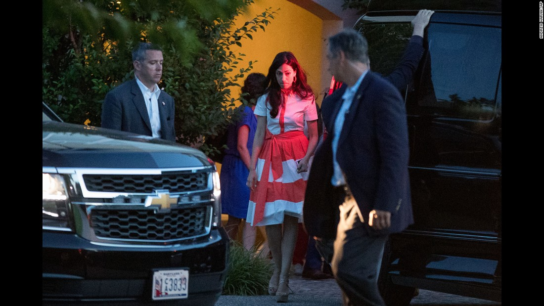 "Huma Abedin, senior aide to Democratic presidential nominee Hillary Clinton, leaves a fundraiser in Southampton, New York, on Sunday, August 28. The next day, Abedin <a href=""http://www.cnn.com/2016/08/29/politics/anthony-weiner-sexting-trump-supporter/"" target=""_blank"">announced that she was separating from her husband,</a> former U.S. Rep. Anthony Weiner, after new reports surfaced that he sent sexually suggestive photos to another woman. Weiner torpedoed his own political career five years ago with a sexting scandal."