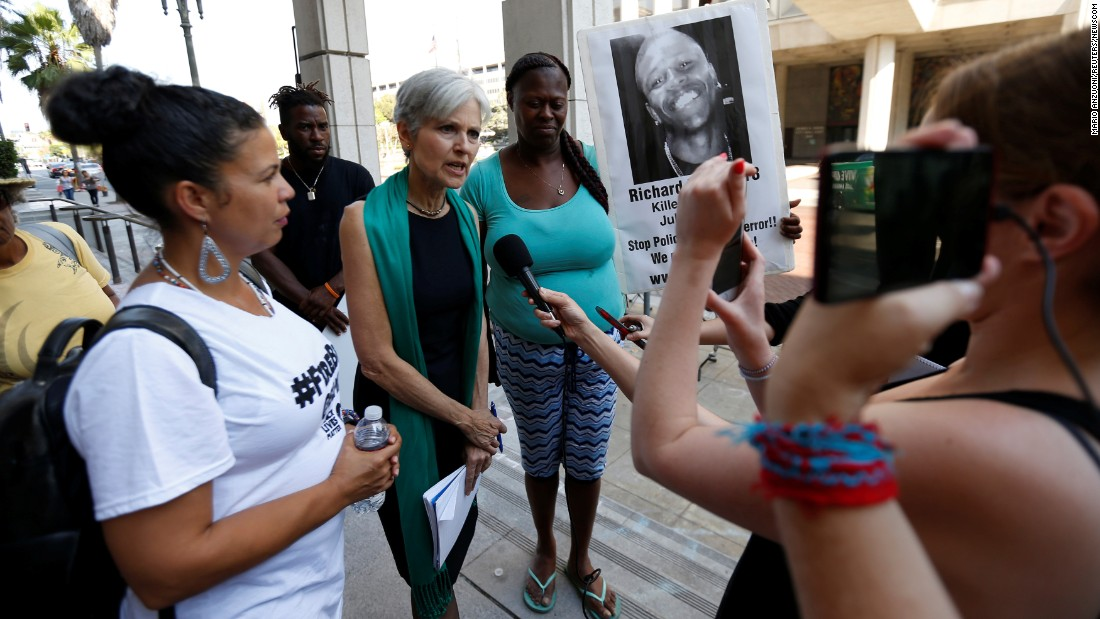 Green Party presidential candidate Jill Stein speaks in Los Angeles while meeting with activists from Black Lives Matter on Monday, August 29.
