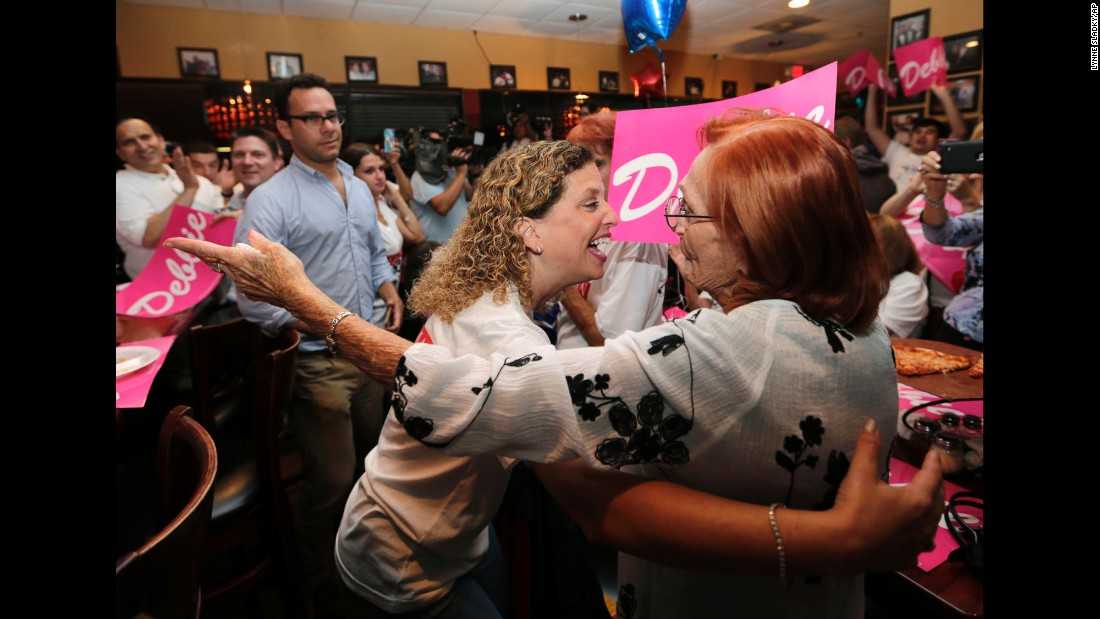 "U.S. Rep. Debbie Wasserman Schultz, center, hugs a supporter in Sunrise, Florida, on Tuesday, August 30 -- primary election night. Wasserman Schultz <a href=""http://www.cnn.com/2016/08/30/politics/john-mccain-debbie-wasserman-schultz-marco-rubio-primary/"" target=""_blank"">won her race</a> despite recent political difficulties. Two months ago, in the wake of a Wikileaks hack, she resigned as chairwoman of the Democratic National Committee."