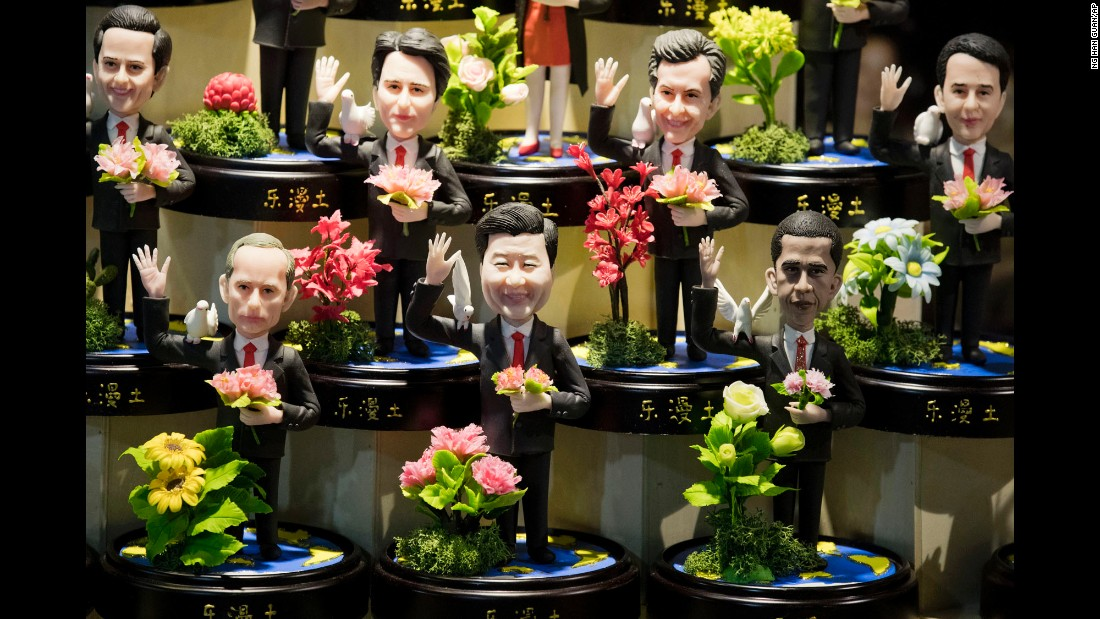 "Clay figures of world leaders are displayed at a shop in Hangzhou, China, on Thursday, September 1. On the bottom row, from left, are Russian President Vladimir Putin, Chinese President Xi Jinping and U.S. President Barack Obama. Hangzhou <a href=""http://www.cnn.com/2016/08/30/asia/china-hangzhou-g20-2016/"" target=""_blank"">hosts the G20 summit</a> on Sunday."