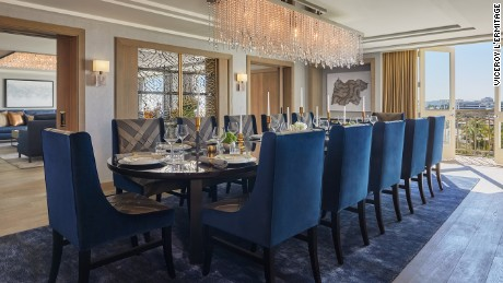 There's space to host 12 for dinner in the presidential suite at L'Ermitage.