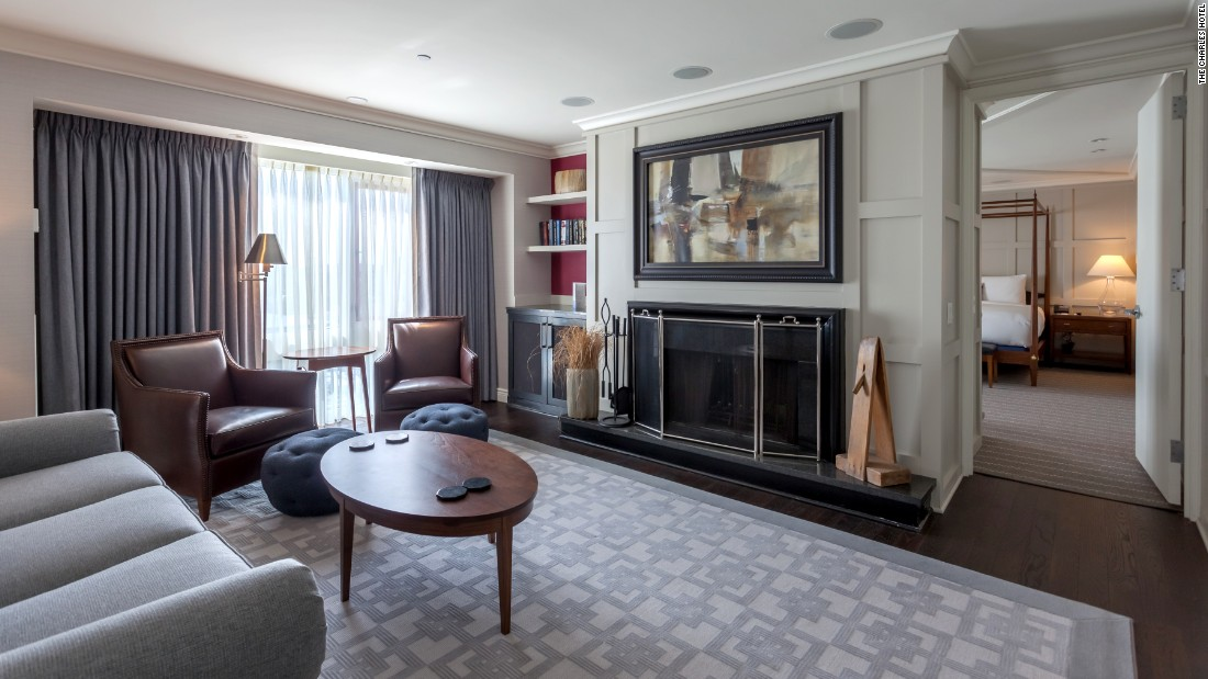 At the recently renovated Charles Hotel in Cambridge, Massachusetts, the 1,195 square-foot presidential suite has a light-filled private office in addition to the spacious living and bedroom areas.