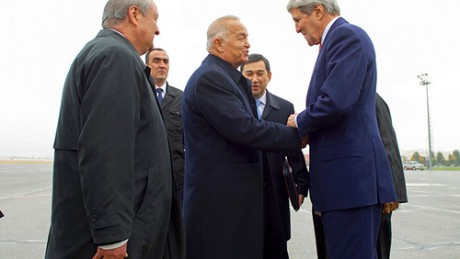 U.S. Secretary of State John Kerry is greeted by Uzbekistan President Islam Karimov on November 1, 2015
