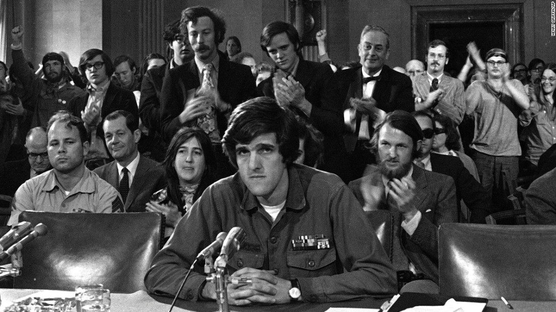 Kerry, 27, testifies about the Vietnam War before the Senate Foreign Relations Committee in Washington, April 22, 1971. Eventually, he would chair that committee.