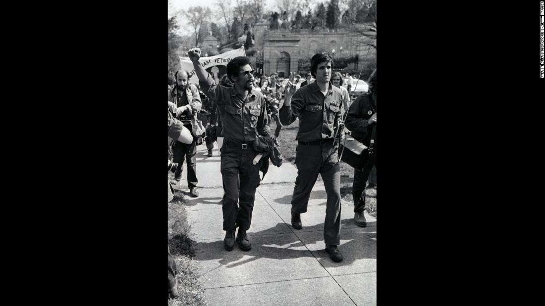Kerry gives the peace sign during a silent demonstration of Vietnam Veterans Against the War in 1972 at Arlington National Cemetery.
