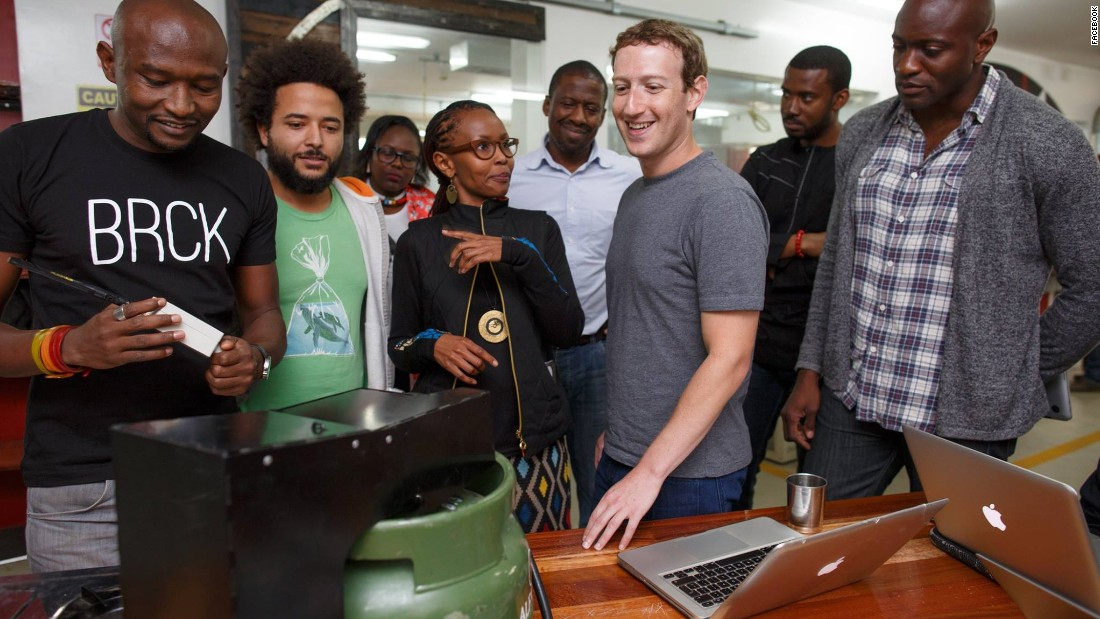 "In Nairobi, Kenya, Zuckerberg met with entrepreneurs and developers. ""It's inspiring to see how engineers here are using mobile money to build businesses and help their community,"" he said in a Facebook post on September 1."
